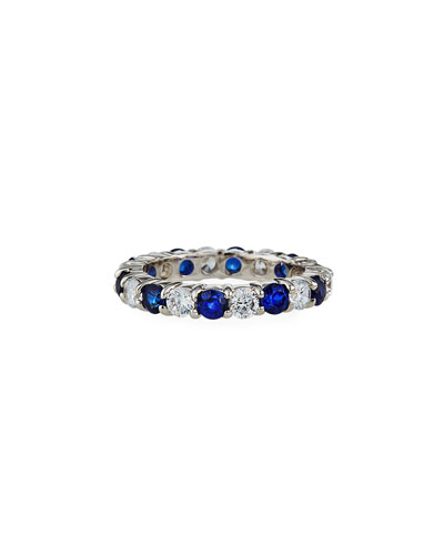 Alternating Cubic Zirconia & Synthetic Sapphire Eternity Band Ring, Size 6-8