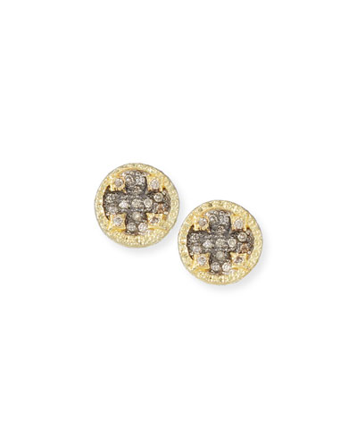 Old World Diamond Pave Stud Earrings w/ 18k Gold