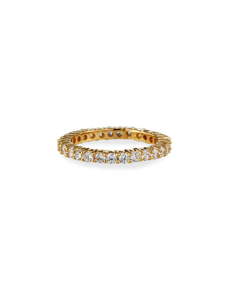 Fantasia by DeSerio 1.15 TCW Narrow 14k Gold Cubic Zirconia Eternity Band Ring, Size 6-8