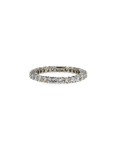 14k White Gold Cubic Zirconia Eternity Band Ring, Size 6-8