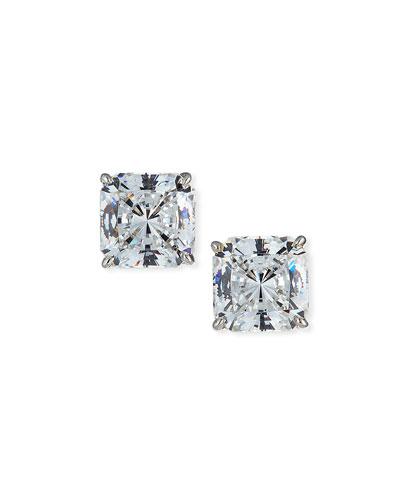 14k White Gold Radiant-Cut Cubic Zirconia Stud Earrings
