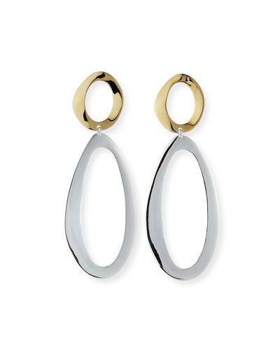 Two-Tone Long Snowman Oval-Drop Earrings