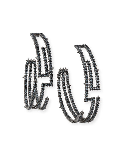 Crystal Encrusted Maze Hoop Earrings