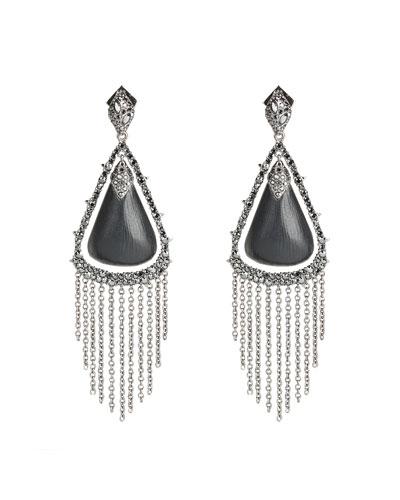 Crystal Capped Tassel Chain Post Earrings, Black