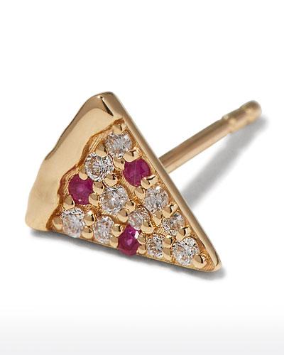 14k Diamond & Ruby Pizza Slice Earring, Single
