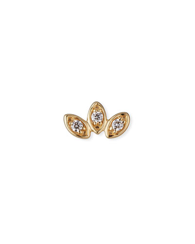 14k Diamond Marquise Trio Stud Earring, Single