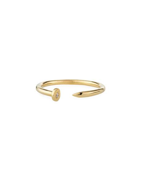 Sydney Evan 14k Yellow Gold Nail Ring w/ Diamond, Size 6.5