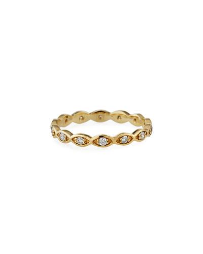 14k Diamond Evil Eye Ring, Size 6.5