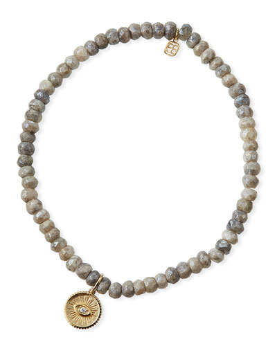 14k Gray Silverite & Diamond Evil Eye Coin Bracelet