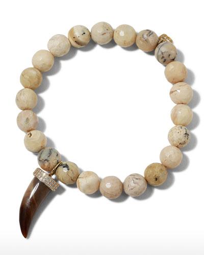 14k African Opal & Medium Horn Bracelet w/ Diamonds
