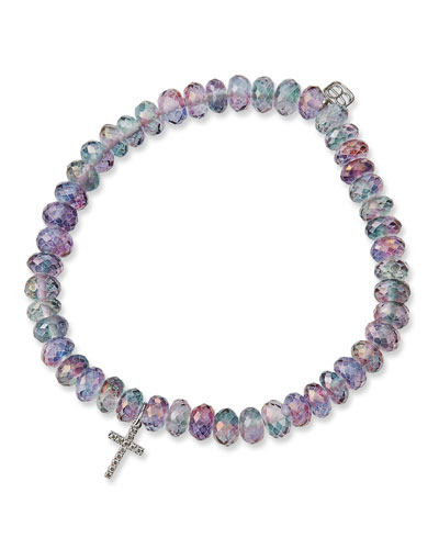 18-Inch Rhodium Plated Necklace with 4mm Crystal Birthstone Beads and Sterling Silver Saint Marina Charm.