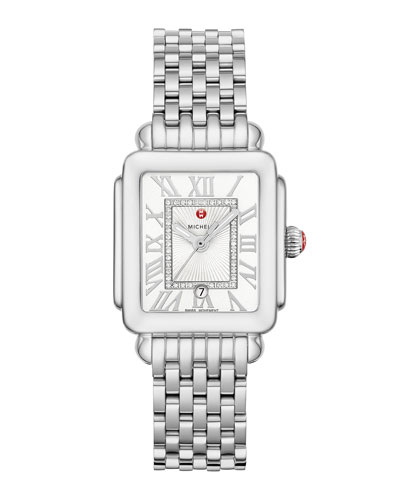 Deco Madison Mid Diamond-Dial Watch, Silver/White