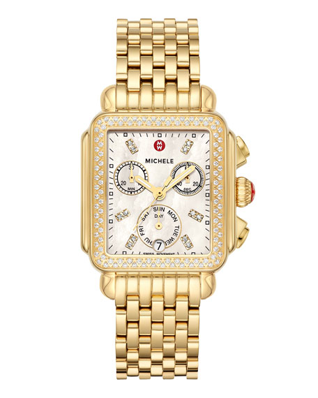 MICHELE Deco Gold Diamond Bracelet Watch