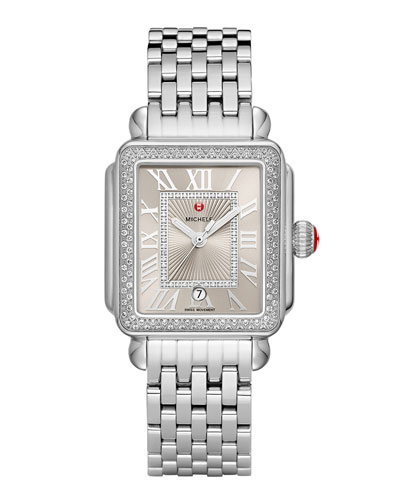 Deco Madison Diamond Watch, Silver/Cashmere
