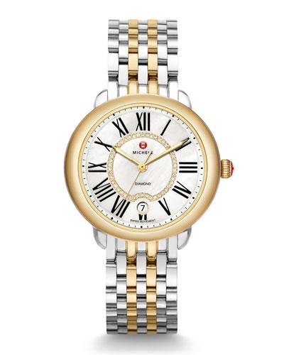 36mm Serein Mid Steel/Gold Diamond-Dial Watch