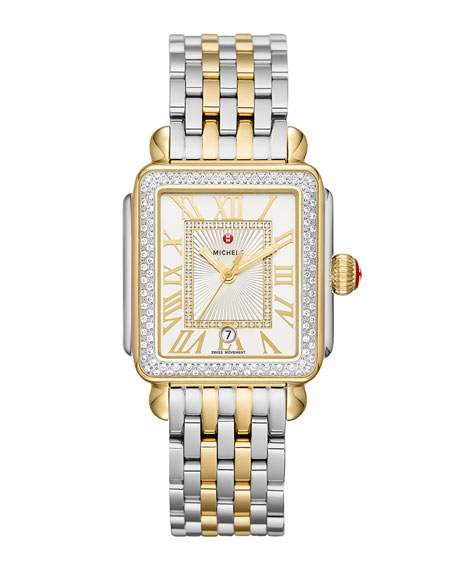 MICHELE Deco Madison Diamond Watch, Silver/Gold