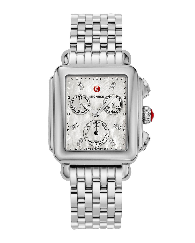 Deco 18 Stainless Steel Diamond Detail Watch