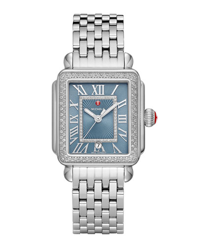 Deco Madison Diamond Watch, Silver/Blue Smoke