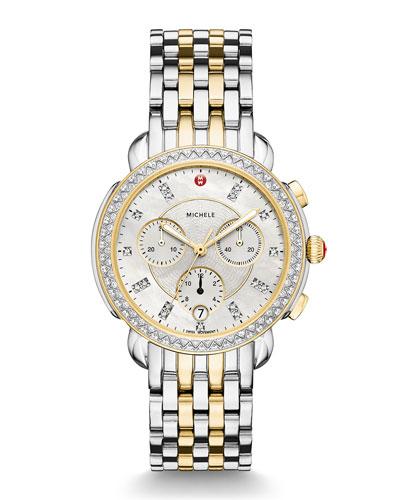 38mm Sidney Diamond Chronograph Steel/Gold Watch