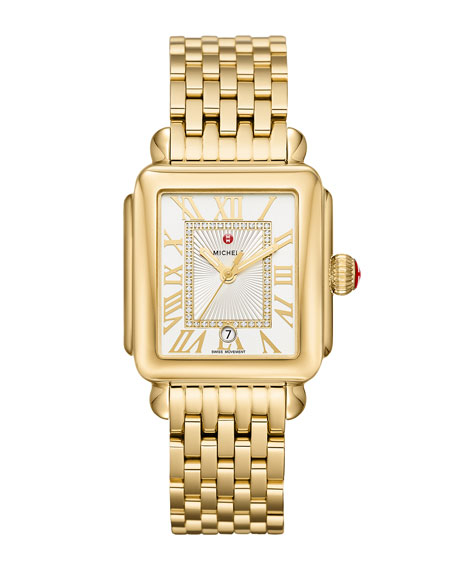 MICHELE Deco Madison Diamond-Dial Watch, Gold