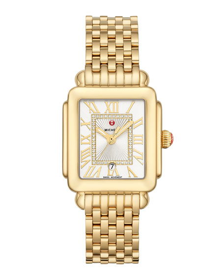 MICHELE Deco Madison Mid Diamond-Dial Watch, Yellow