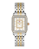 MICHELE Deco II Midsize Two-Tone Diamond-Dial Watch