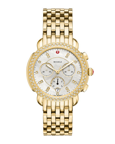 38mm Sidney Diamond Chronograph Watch, Gold