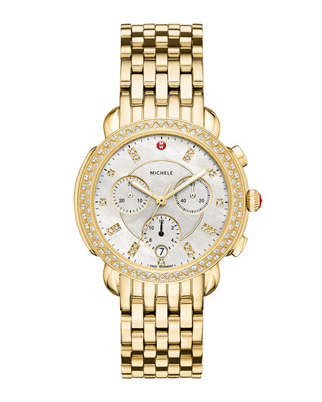 MICHELE 38mm Sidney Diamond Chronograph Watch, Gold