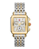 MICHELE Deco 18 Two-Tone Diamond Detail Watch