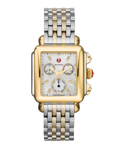 Deco 18 Two-Tone Diamond Detail Watch