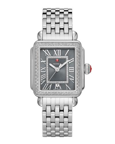 Deco Madison Diamond Watch, Silver/Gray