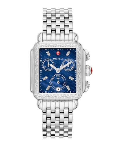 Signature Deco Diamond Watch, Silver/Blue