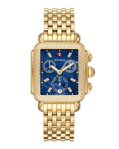 Signature Deco Diamond Watch, Gold/Blue