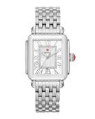 MICHELE Deco Madison Diamond-Dial Watch, Silver