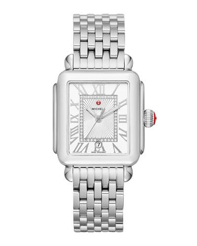 Deco Madison Diamond-Dial Watch, Silver