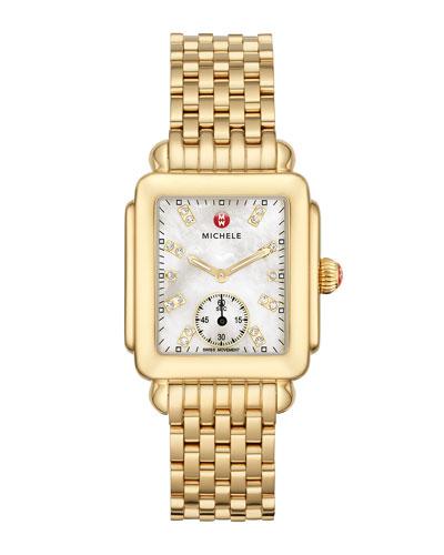 Deco Mid Gold Diamond Dial Watch