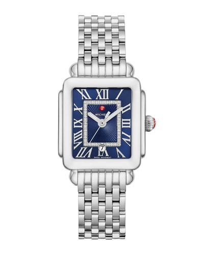 Deco Madison Mid Diamond-Dial Watch, Silver/Blue