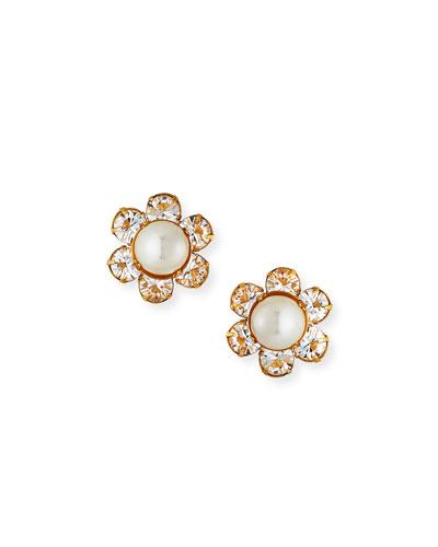 Clara Pearly & Crystal Flower Earrings