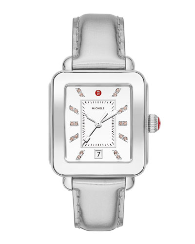 Deco Sport High Shine Stainless Steel & Silver Leather Watch