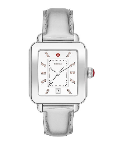 MICHELE Deco Sport High Shine Stainless Steel & Silver Leather Watch