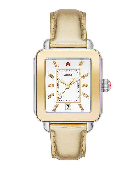MICHELE Deco Sport High Shine Two-Tone & Gold Leather Watch