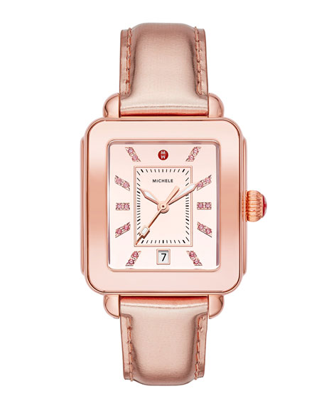 MICHELE Deco Sport High Shine Pink Gold & Pink Leather Watch