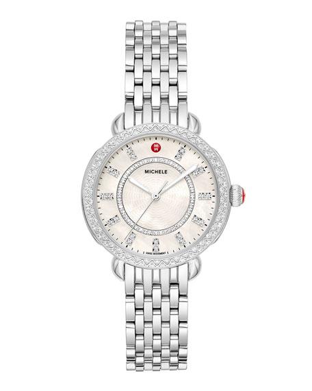 MICHELE Sidney Classic Diamond Stainless Steel Watch