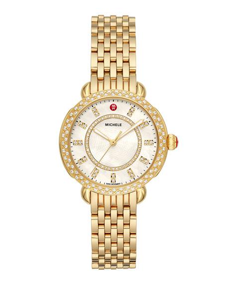 MICHELE Sidney Classic Diamond Gold Watch