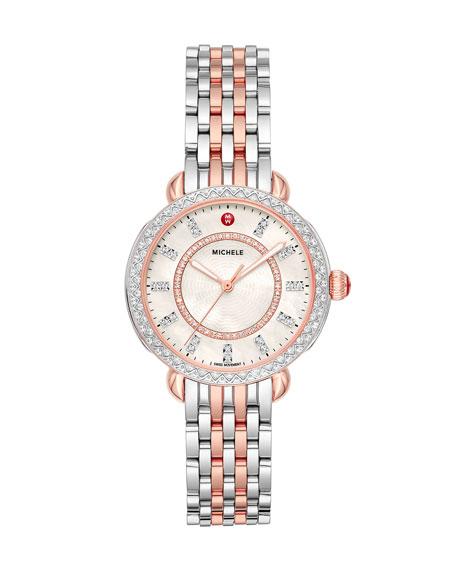 MICHELE Sidney Classic Diamond Two-Tone Pink Gold Watch