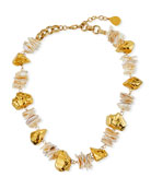 Devon Leigh Freshwater Pearl Slabs Nugget Necklace