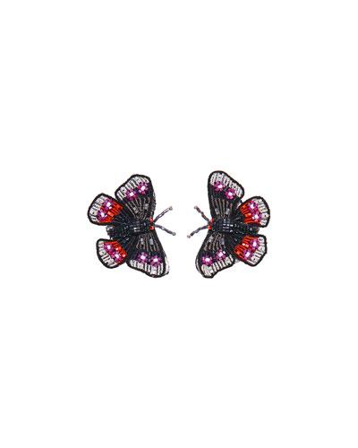 Beaded Butterfly Stud Earrings