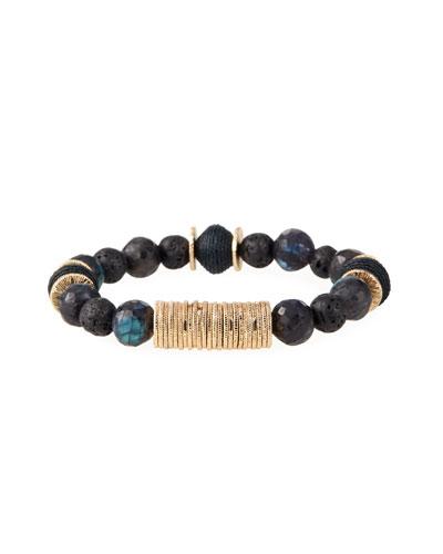 Labradorite & Raffia Prayer Bead Bracelet