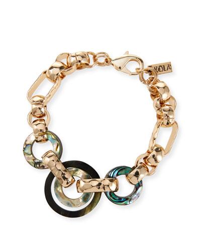 Horn & Abalone Chain-Link Bracelet