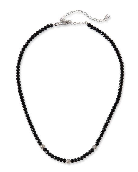 Sydney Evan 14k White Gold 3-Diamond Bead & Black Spinel Necklace
